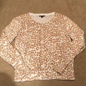 Gap Tan Cream Leopard Cheetah Cardigan